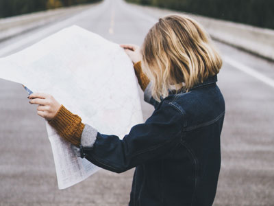 Woman studying map